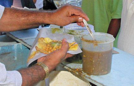 Trinidad doubles. Photograph by Shirley Bahadur