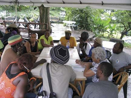 Chateaubelair commuity members discuss how their community is trying to develop sustainable livelihoods from the forest. Photograph courtesy CANARI