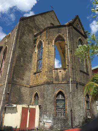 Cathedral of the Immaculate Conception in St George`s, Grenada, damaged during Hurricane Ivan in September 2004. Photograph by Adrian Griffith