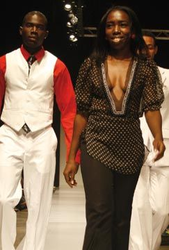 Coline Baptiste-Mills walks the runway during the grand finale. Photograph courtesy Pulse Investments Ltd