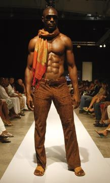 Urban masculine look: low-rise patterned pants in leathery suede fabric. Photograph courtesy Pulse Investments Ltd