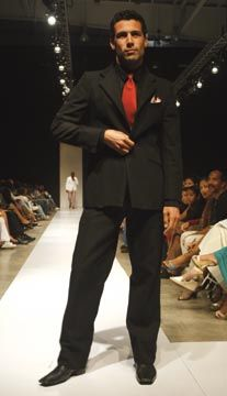 Evening sportswear looks: blazer and extended waistband pants. Photograph courtesy Pulse Investments Ltd