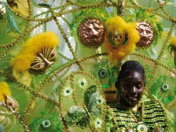 Masquerader in Brooklyn`s children`s carnival. Photograph by Erline Andrews