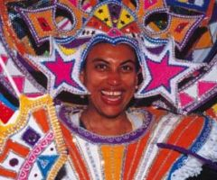 Junkanoo costumes are traditionally made from strips of crêpe paper and cardboard, nowadays ornamented with rhinestones, glitter, and feathers. Photograph courtesy the Bahamas Ministry of Tourism