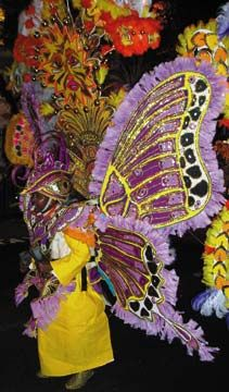 To qualify for the official competition, each Junkanoo costume must be carried by a single person. Photograph by Jocelyn Spies