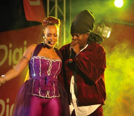 Alison Hinds and Richie Spice performing in 2009 at Cohobblopot, part of the Crop Over celebrations. Photograph courtesy The National Cultural Foundation Of Barbados