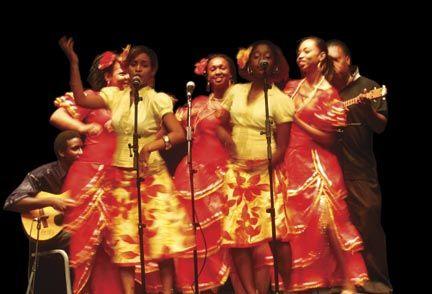 A group from Samaroo Village performing parang music at Queen's Hall, Trinidad. Photograph by Edison Boodoosingh