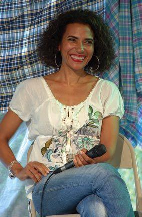 Marie-Elena John discusses a film script of her novel Unburnable. Photograph by Celia Sorhaindo