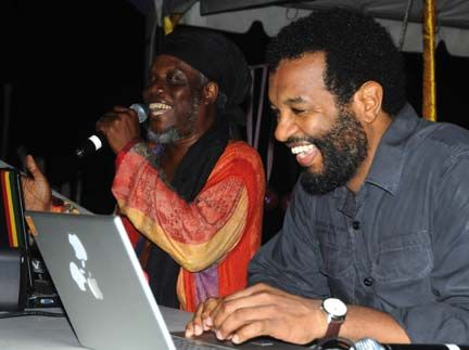 Jamaican dub poet Mutabaruka, left, and Colin Channer, one of the festival`s founders. Photograph courtesy Calabash International Literary Trust