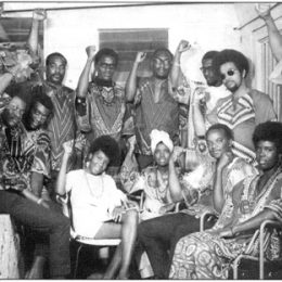 Tim Hector (standing, centre) with members of the Afro-Caribbean Movement, 1968