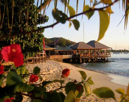 Basil`s Bar, home of the Mustique Blues Festival, on the beach of Britannia Bay, Mustique. Photograph by Dianne Wilson
