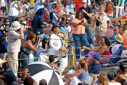 Kirk Whalum loves the crowd at Saint Lucia Jazz. Photograph courtesy St Lucia Tourist Board