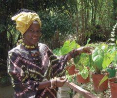 Jaramogi shows off her garden. Photograph by Nazma Muller