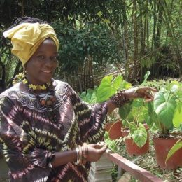 Jaramogi shows off her garden. Photograph by Nazma Muller