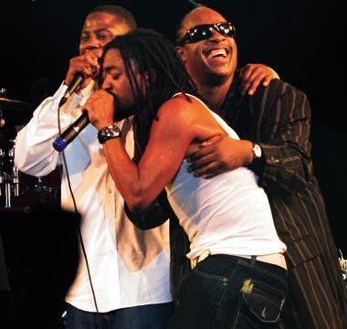 Stevie Wonder, Machel Montano and Doug E. Fresh. Photograph by Andrea De Silva