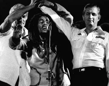 One of the iconic images of Jamaican history, the Manley–Seaga handshake; from left: Michael Manley, Bob Marley and Edward Seaga. Photograph by UrbanImage.tv/56 HRM/Adrian Boot