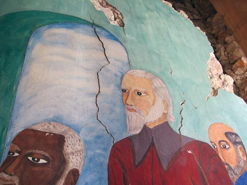 The remains of the mural. Photograph courtesy of Rosa Lowinger & Associates, Conservation of Art & Architecture