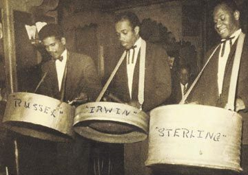 Russ Henderson, left, Irwin Clement and Sterling Betancourt in the early 1950s. Photograph courtesy Clifford Alfred