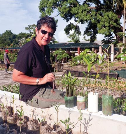Annette Arjoon at the mangrove nursery. Photograph by Ian Brierly