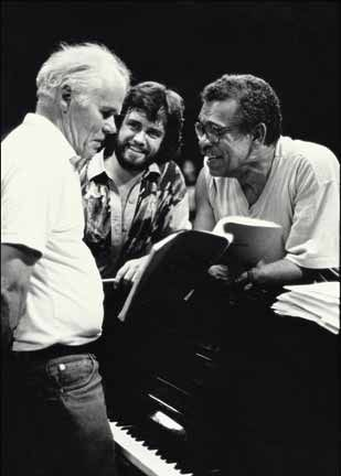 Walcott, right, in rehearsals with the TTW, with Royal Shakespeare Company director Gregory Doran, centre, and Galt MacDermot. Photograph by Abigail Hadeed