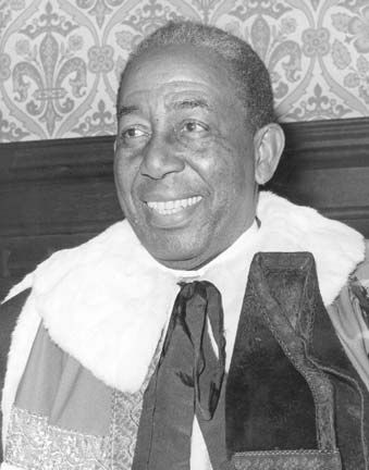 Constantine at his investiture at the House of Lords in 1969, when he became Baron Constantine of Maraval and Nelson. Photograph courtesy Macmillan Caribbean