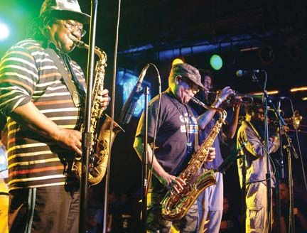 Karl Bryan, Lester Sterling, Kevin Batchelor and Vin Gordon, the horn section at Belly Up. Photograph courtesy Judith Anderson