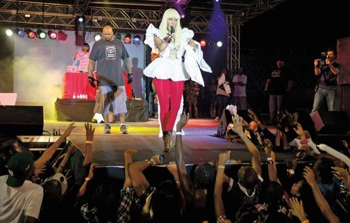 Minaj performs in Trinidad. Photograph by Andrea De Silva