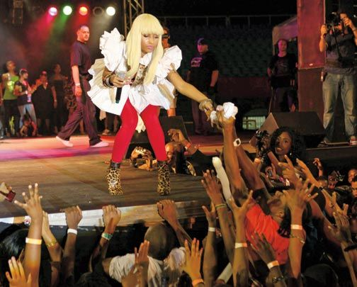 Minaj greets her fans while performing in Trinidad. Photograph by Andrea De Silva
