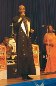 The Mighty Duke onstage, displaying his famous sartorial elegance. Photograph courtesy Trinidad Express