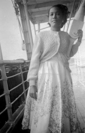 Alexandra Sorhaindo, on the boat on the way from Dominica to the UK. Photograph courtesy Alexandra Sorhaindo