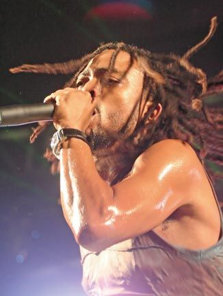 Machel Montano performs on stage. Photograph by Edison Boodoosingh