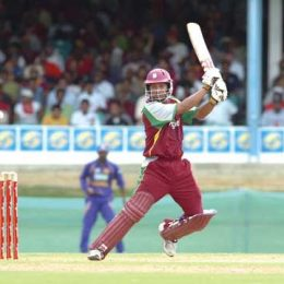 Ramnaresh Sarwan cuts for runs during his innings of 35 vs Sri Lanka at the Queen`s Park Oval, Trinidad. April 2008. Photograph Iossjr