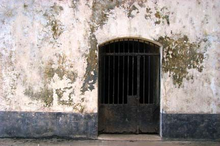 Inside the Salle des Reclusionnaires – the solitary confinement area – on Ile Royale. Photograph by Nicholas Laughlin