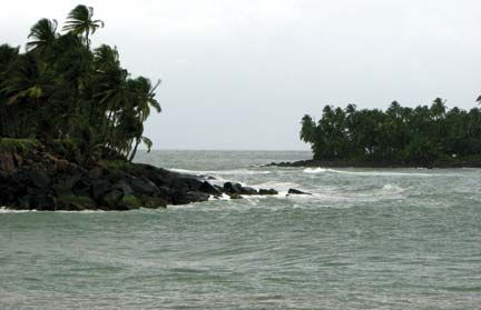 Ile Royale (left) and Ile du Diable – Devil`s Island itself – viewed from Ile St Joseph. Photograph by Nicholas Laughlin
