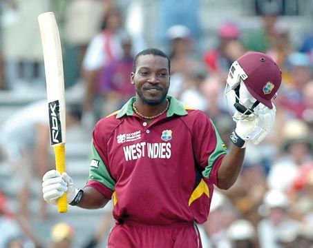 Chris Gayle celebrates his 50-run mark during the ICC Cricket World Cup match vs England at Kensington Oval, Barbados in April 2. Photograph by Iossjr