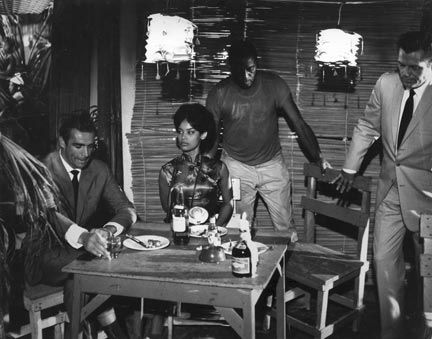 Taken in 1962 on the set of Dr No at Morgan`s Harbour, Jamaica. Sean Connery (from left), Marguerite Gordon and Jack Lord. Photograph courtesy Marguerite Gordon