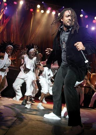 Soca star Machel Montano on stage at his show at Madison Square Garden in New York. Photograph by Andrea De Silva