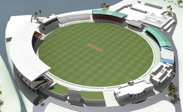 Artist's impression of the Arnos Vale Stadium, Kingstown, St. Vincent. Photograph courtesy the St. Vincent and the Grenadines Local Organising Committee