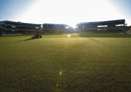 Queen's Park Oval at sunrise. Photograph by Mark Lyndersay