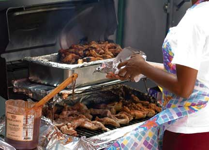 A local delicacy: barbecued pigtail. Image taken from Caribbean Street Food: Barbados © Mike Toy