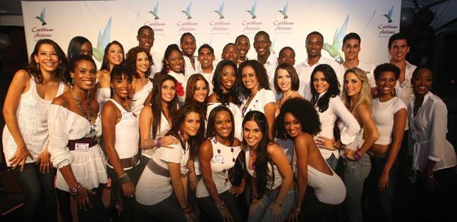 Contestants of the Faces of the Caribbean Airlines competition. Photograph courtesy Caribbean Airlines/Stephen Broadbridge