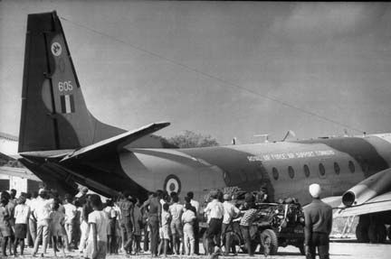 An RAF cargo plane being unloaded during the temporary occupation of the island. Photograph by Lynn Pelham/Time Life Pictures/Getty Images