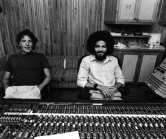 Island Records founder Chris Blackwell with Jamaican producer Steven Stanley at Blackwell's Compass Point Studio in the Bahamas. Photograph by UrbanImage.tv/Adrian Boot