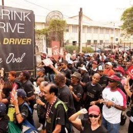 Cricket lovers show their support for West Indies cricket and responsible drinking. Photograph courtesy Mark Tomaras