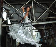 Kathy Davis models one of Judith Rawlin's creations at the old sugar factory in St Kitts. Photograph courtesy Judith Rawlins, taken by GSquared Arts, St Kitts