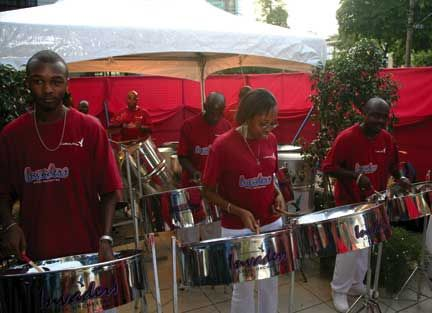 Caribbean Airlines Invaders performing outside the company`s new Nicholas Towers office, downtown Port of Spain. Photograph courtesy Caribbean Airlines