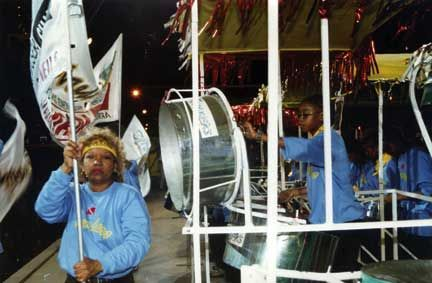Invaders performing at the annual Pan in the 21st Century in 2004 with Verna Francis as flagwaver. Photograph courtesy Trevor Cooper