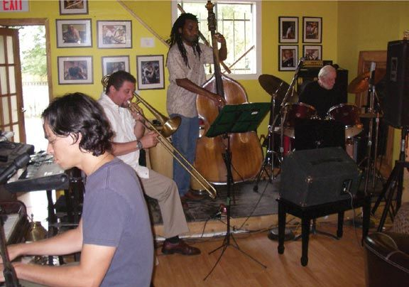 The Fair-Trade Ensemble, led by Ben D'Cunha on the piano. Photograph by Donna Yawching