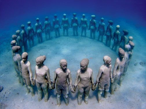 Vicissitudes, life-sized moulds of 30 children that symbolise the circle of life. Photograph courtesy Jason de Caires Taylor & the Grenada Board of Tourism