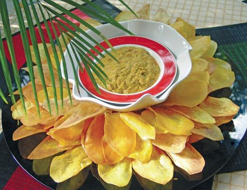 Norma's Jamaica Ackee Dip with Sweet Potato Leaves. Photograph by Rosemary Parkinson